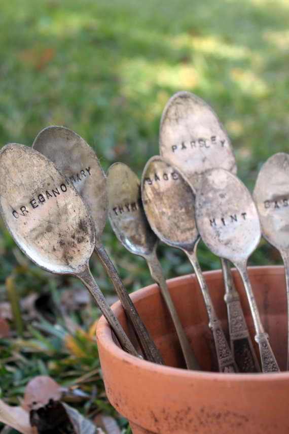 Etsy Finds - Living Vintage - spoons as plant markers