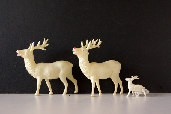 Featured on Living Vintage - antique celluloid reindeer