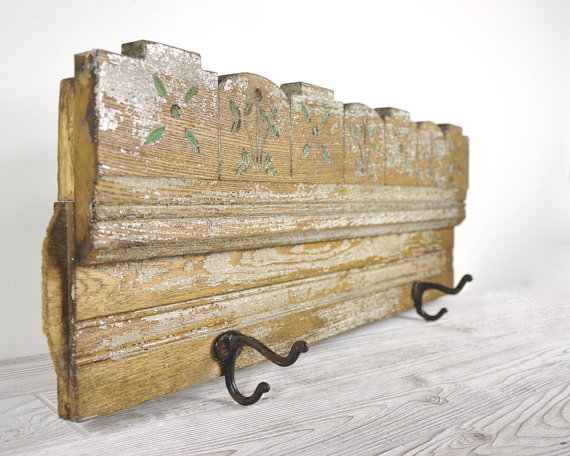 Featured on Living Vintage - coat rack made with architectural salvage