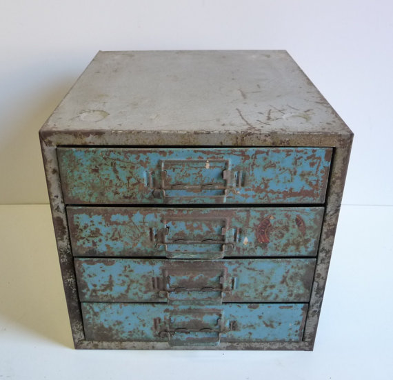 Featured on Living Vintage - industrial metal cabinet