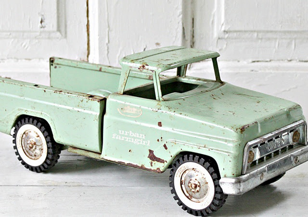 Love toy trucks especially in mint green - featured on Living Vintage's Friday Favorites