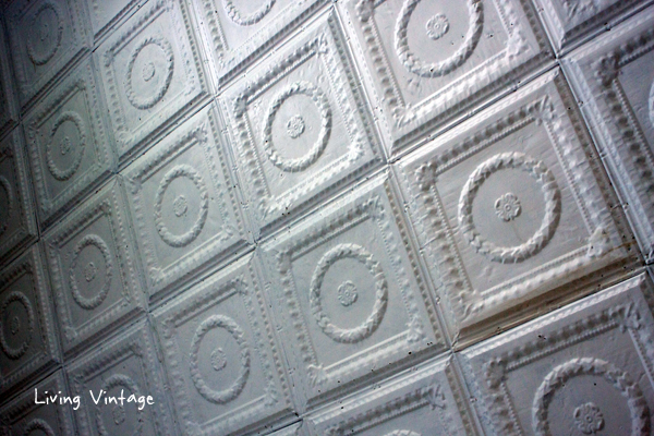 a ceiling of white ceiling tins- Living Vintage