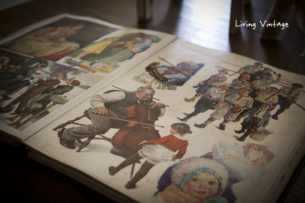 a close-up shot of an old book containing old scrapbook containing illustrations - Living Vintage