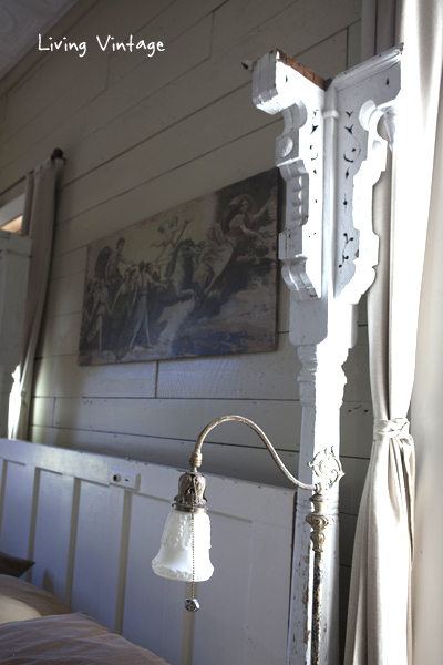 an old door used as a headboard - Living Vintage