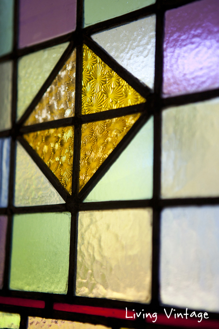 closeup of antique stained glass 2 - Living Vintage