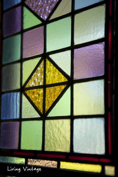closeup of antique stained glass
