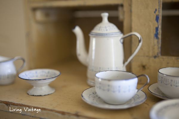 closeup of miniature enamelware - Living Vintage