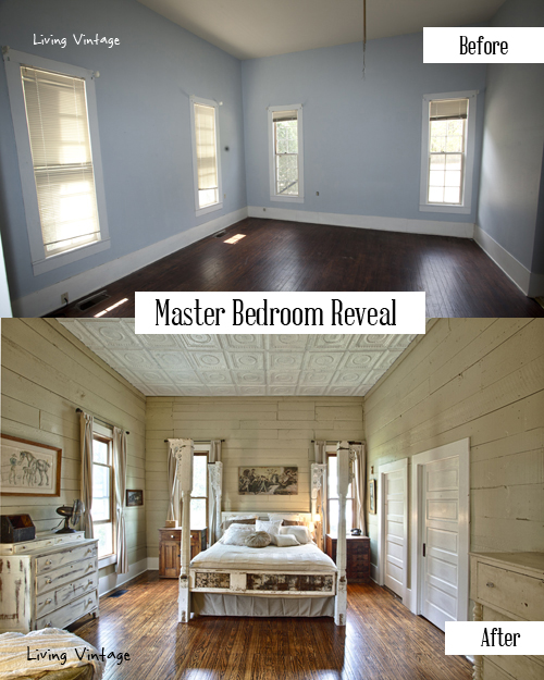 From bland to fabulous - you've got to see this fabulous master bedroom! More pics @ Living Vintage