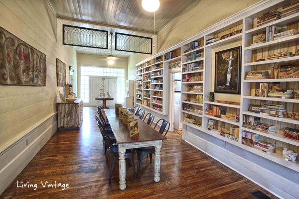 the breezeway in an old dogtrot devoted to be a home library and dining room