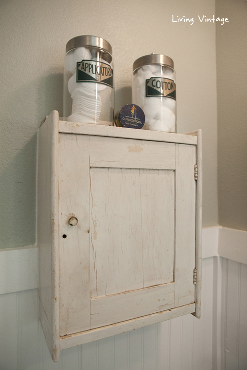 Finished master bathroom pictures living vintage for Small bathroom jars