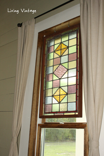 stained glass and new IKEA curtains - Living Vintage