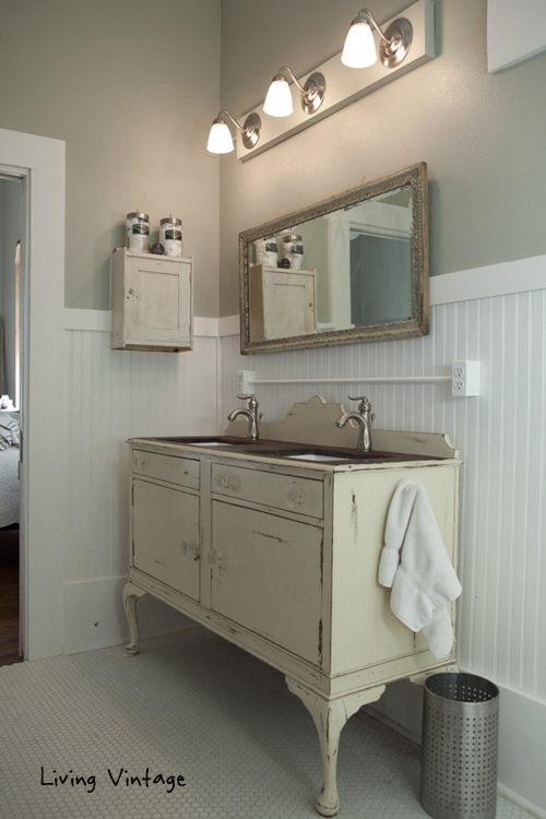 the custom bathroom vanity and vintage medicine cabinet  Living