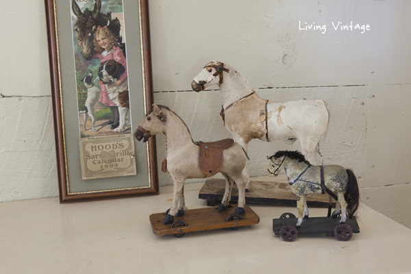 vintage calendar and horse pull toys - Living Vintage