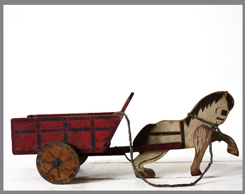 wood toy horse and cart - Etsy Find - featured on Living Vintage