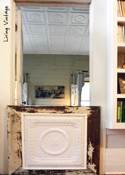dog gate matches the tin ceiling - Living Vintage