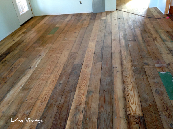 Antique reclaimed flooring installed living vintage Salvaged pine flooring