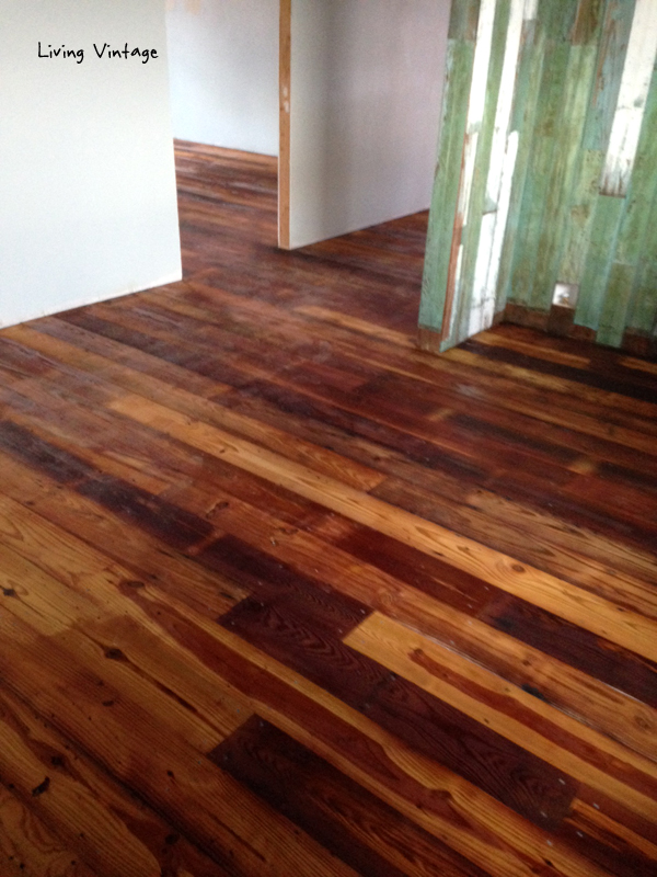 The antique reclaimed flooring we sold has been installed! - Isn't it wonderful?!!!? Living Vintage