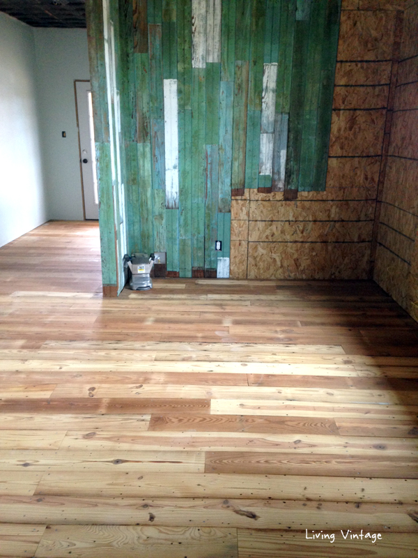 The antique reclaimed flooring and reclaimed green beadboard we sold has been installed! - Isn't it wonderful?!!!? Living Vintage