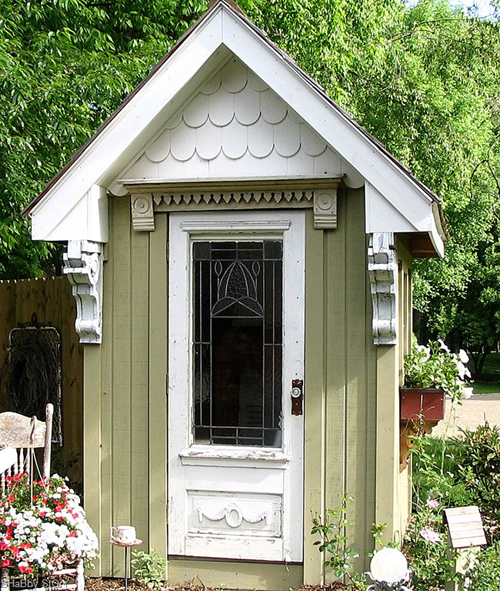 darling garden shed using vintage reclaimed architectural pieces - Friday Favorites - Living Vintage