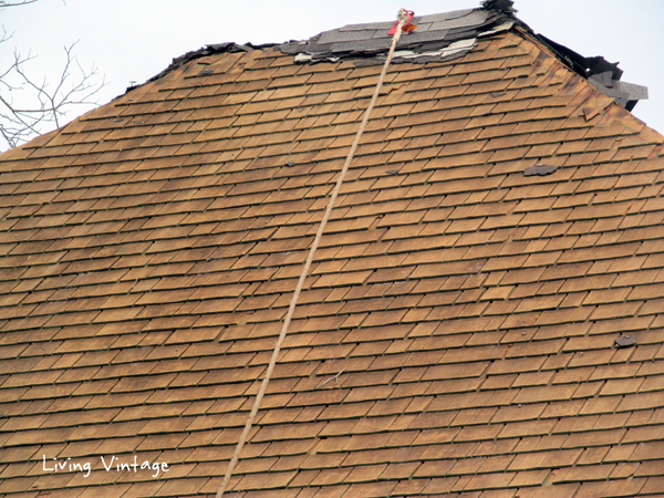 original shake roofing shingles discovered under 5 additional layers - Living Vintage