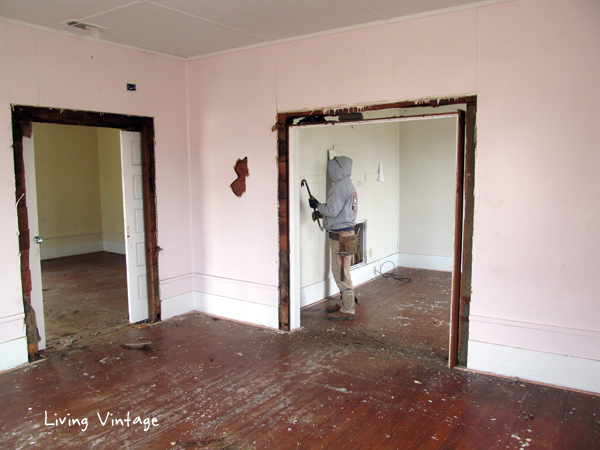 removing the paneling from the inside walls - Living Vintage