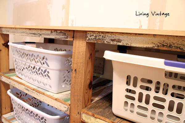New Laundry Room Cabinets Built Using Reclaimed Wood - Living Vintage