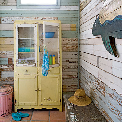 reclaimed beadboard and a sunny yellow cabinet - Friday Favorites - Living Vintage