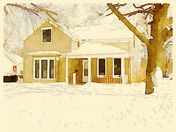 A photo of an old house transformed into watercolor using the Waterlogue app - Friday Favorites - Living Vintage