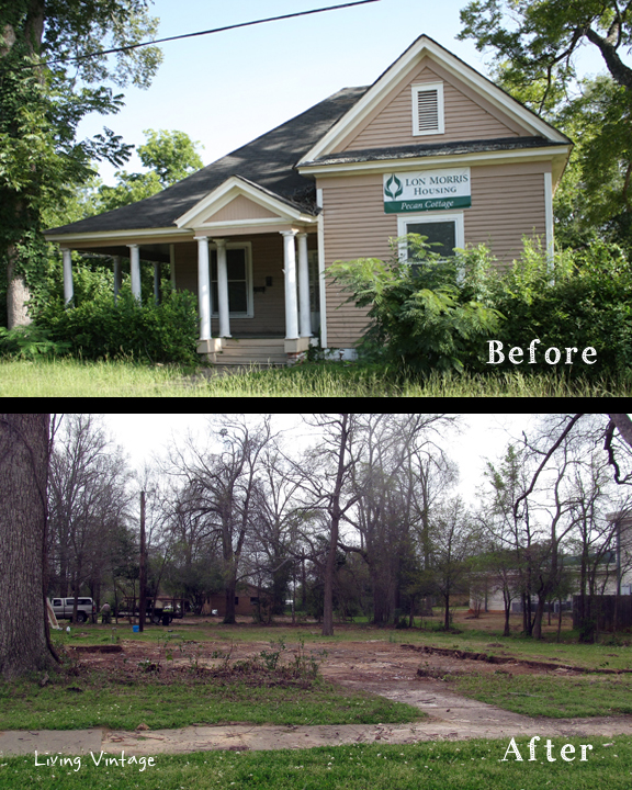 Pecan Cottage - before and after we salvaged it - Living Vintage