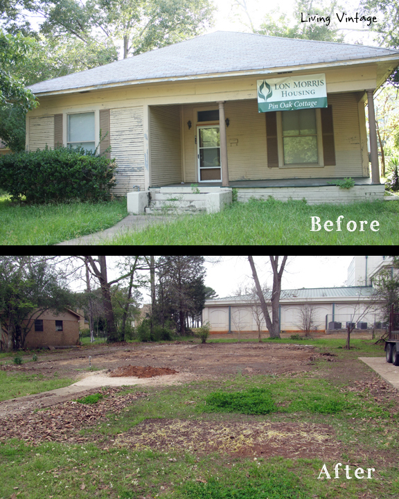 Pin Oak Cottage - before and after we salvaged it - Living Vintage