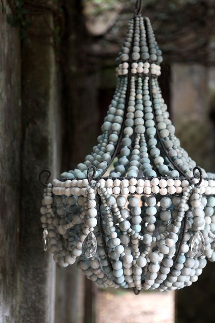 a very feminine, baby blue chandelier - one of 8 picks for this week's Friday Favorites - Living Vintage