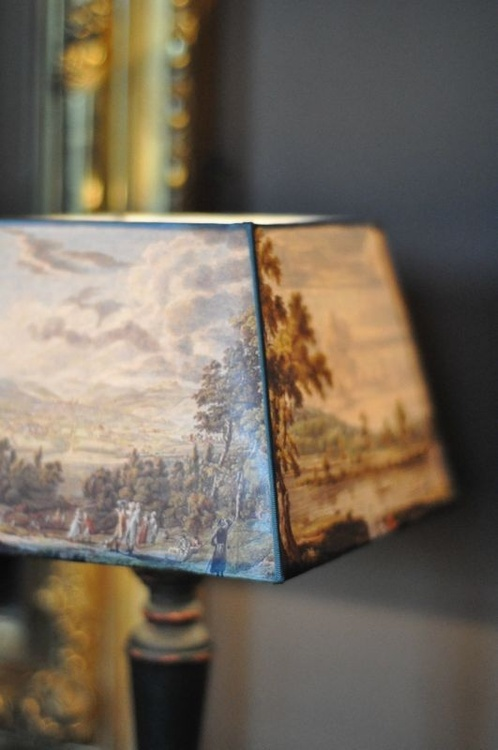 a very pretty scenic lampshade - one of 8 picks for this week's Friday Favorites - Living Vintage