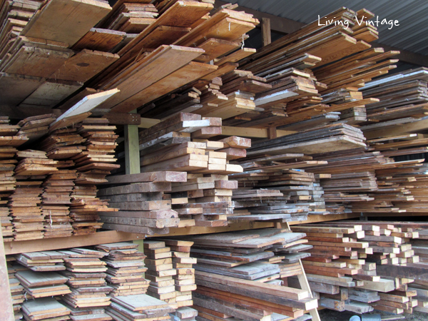 close-up of lumber in barn
