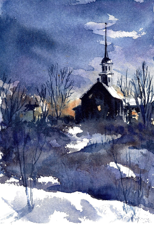 a pretty watercolor of a church - one of 8 picks for this week's Friday Favorites - Living Vintage