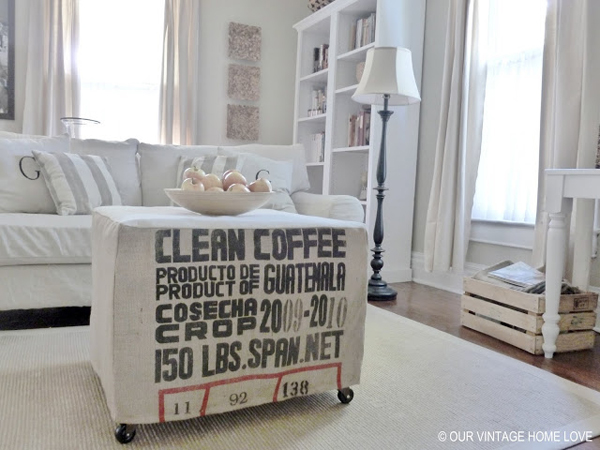 another sewing idea (a slipcovered coffee table) - one of 8 picks for this week's Friday Favorites - Living Vintage