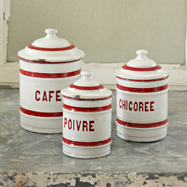 red and white french enamelware canisters - one of 8 picks for this week's Friday Favorites