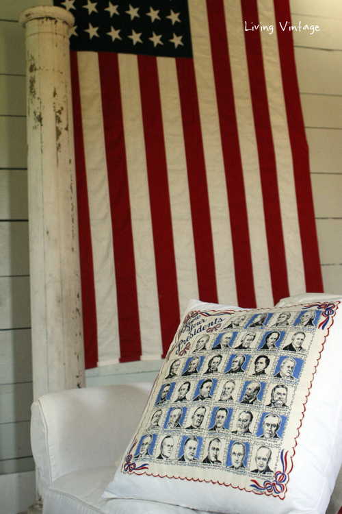 A neat way to purpose an old hankie!  Make a pillow!