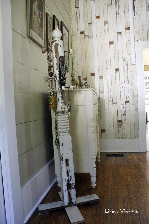 a jewelry tree using an old porch post, a reclaimed finial, some old doorknobs, and a few pieces of reclaimed wood