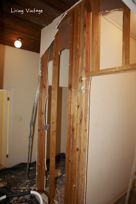 We tore down the two closets on the right.  The third closet on the left (not pictured) is used to store our water heater and freezer.