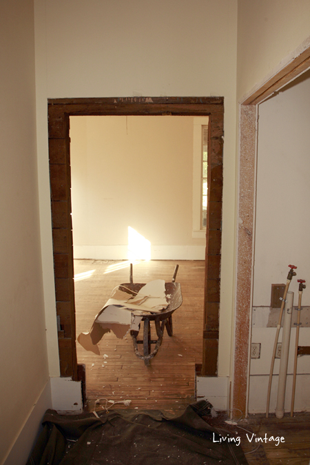 This is the hallway that led to the guest bedroom.  We closed up this doorway.