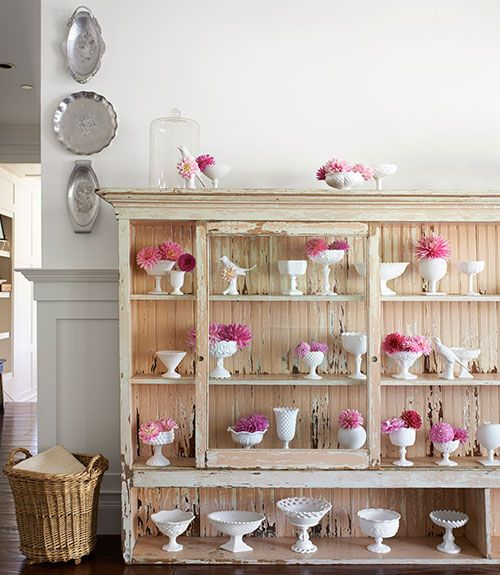 a pretty pink cabinet and a milk glass collection - one of 8 picks for this week's Friday Favorites