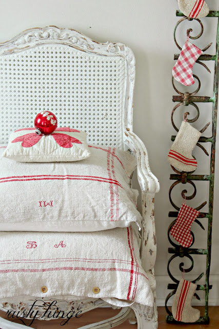 make european pillow shams using vintage french linens