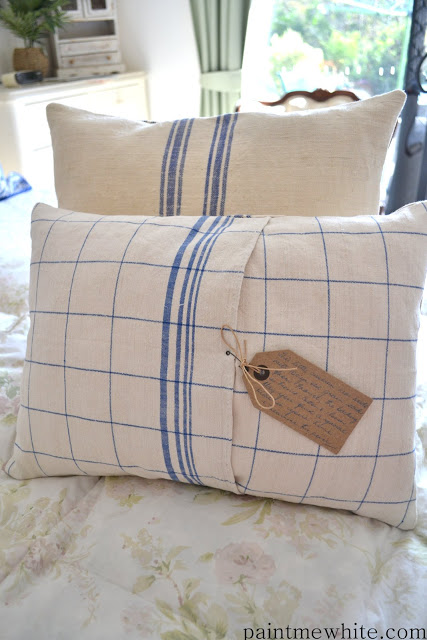pillows made with antique linen
