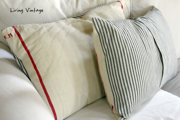 pillows made with vintage French linen tea towels