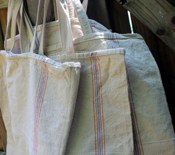 reusable grocery totes made with antique linens
