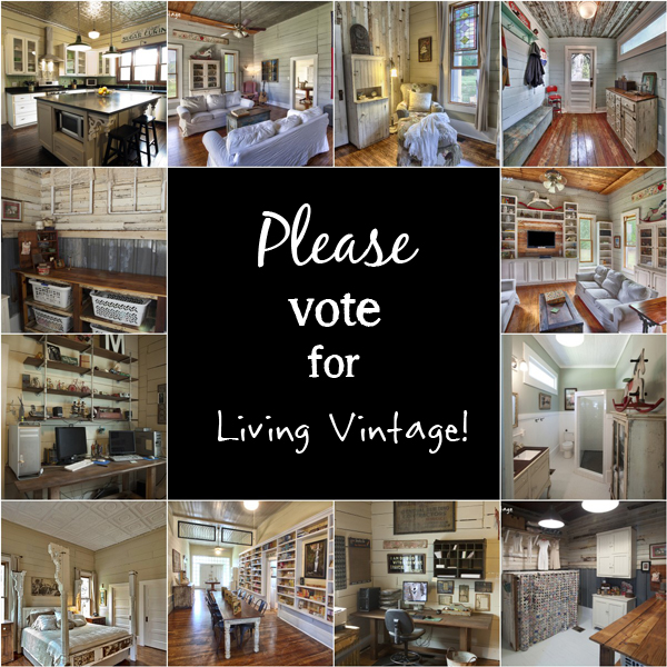 Please hop on over to my blog and vote for Living Vintage in the interior design category.  Thank you!!!!