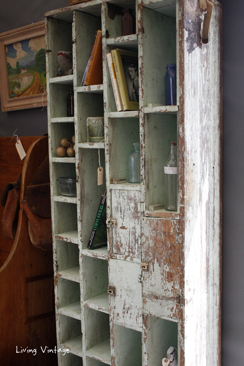 This rustic cubby cabinet caught my eye in Sarah Stopschinski's booth