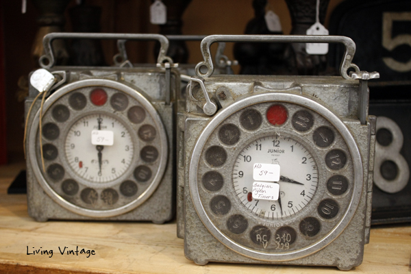 We spotted these Belgian pigeon timers at Marburger Farm antique show