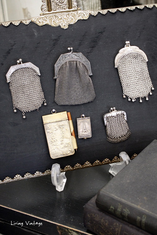 a collection of Victorian mesh purses in Two Sisters Antiques booth