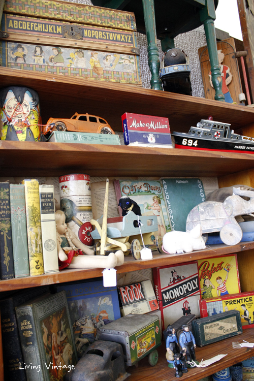 a wide assortment of children's toys in Two Sisters Antiques booth